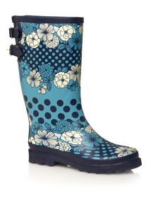 Blue Floral Polka Welly