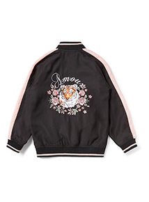 Black Floral Embroidered Bomber Jacket (3-14 years)