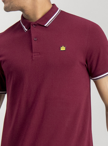 57f54ec97 Admiral Burgundy Tipped Short Sleeve Cotton Polo