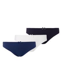 Navy No VPL Lace Back Brazilian Briefs 3 Pack