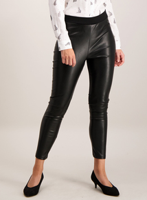 Black Coated Front Leggings