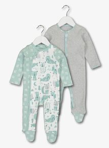 Multicoloured Walrus Sleepsuits 2 Pack (Newborn-24 Months)