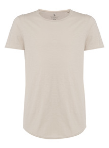 Stone Raw Edge Scoop Tee