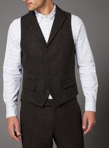 Brown Wool Mix Waistcoat