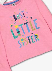 Pink Glitter 'Little Sister' T-Shirt (9 months - 6 years)