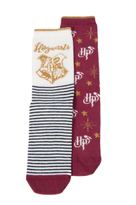 Harry Potter Cream & Burgundy Slogan Socks 2 Pack