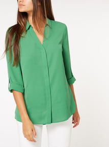 Online Exclusive Green Roll Sleeve Shirt