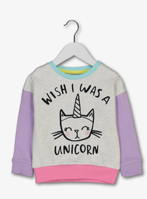 Multicoloured Unicorn Slogan Sweater (9 months-6 years)