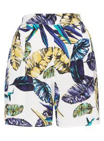 Palm Print Drapey Shorts