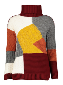 Multicoloured Patchwork Cable Jumper