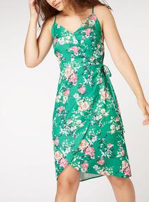 Floral Print Cami Wrap Dress