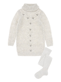 Girls Grey Embellished Knitted Dress (3-12 years)