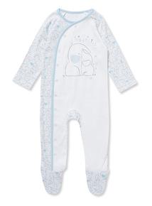 Blue 'Happy Little One' Sleepsuit (Newborn-12 months)
