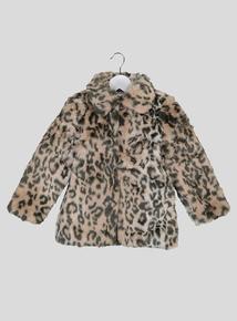 Beige Animal Print Faux Fur Coat