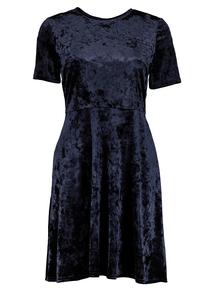 Navy Velvet Skater Dress