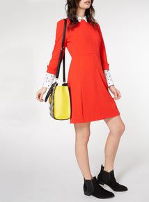 Red 3/4 Sleeve Ponte Dress