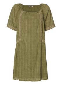 Khaki Crinkle Tunic Dress
