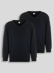Unisex Black V-Neck Jumpers 2 Pack (3-16 years)