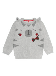 Grey Cat Knitted Jumper (0-24 months)