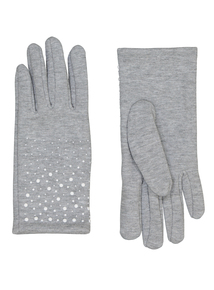 Grey Beaded Gloves