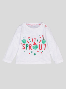 White Little Sprout Christmas Top (0-24 months)