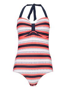 Stripe Bandeau Tummy Control Swimsuit
