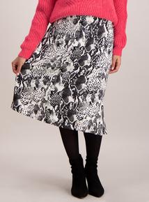 Monochrome Faux Snakeskin Print Skirt