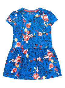 Blue Floral Safari Print Jersey Dress (9 months-6 years)