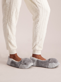 Grey Faux Fur Star Slippers