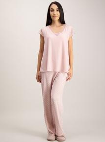 Pink Lace Detail Pyjamas
