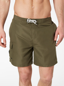 Khaki Cargo Swim Shorts