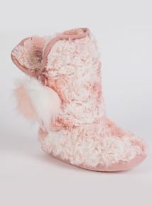 Pink Faux Fur Slipper Boot (10 infant-4 child)