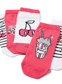 5 Pack Multicoloured Badge Trainer Socks