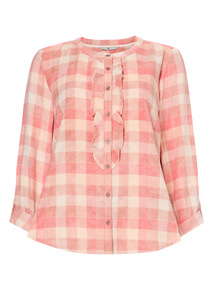 Pink Frilled Check Shirt