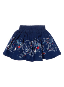 Girls Navy Border Print Skirt (3-12 years)