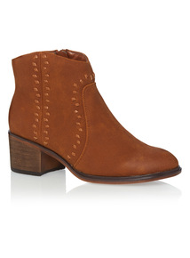 Tan Whipstitch Ankle Boots