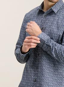 Blue Floral Slim Fit Shirt