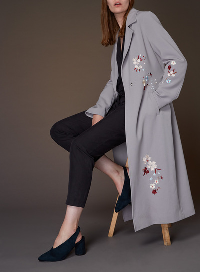 Embroidered Drapey Trench Coat