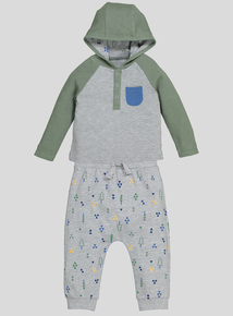 Grey and Green Hooded Top & Joggers Set (0-24 months)