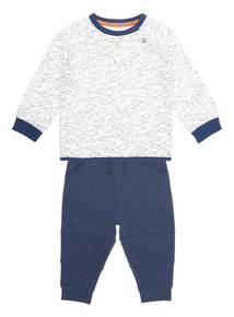 Boys White Sweat & Jogger Set (0-24 months)