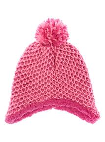 Girls Pink Knit Trapper