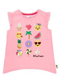 Girls Pink Emoji Tee (9 months-6 years)