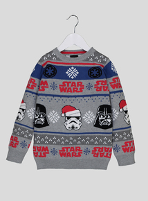 Star Wars Grey Long-Sleeved Christmas Jumper (3-14 Years)