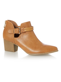 Low Western Plait Ankle Boot