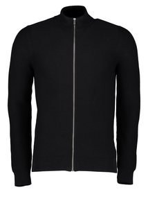 Black Textured Full Zip Cardigan