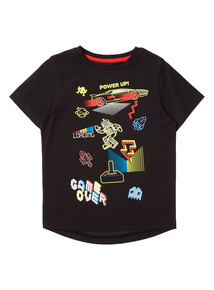 Boys Black Game Over Tee (4 - 14 years)