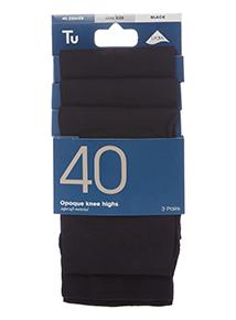 Black Opaque Knee Highs 3 Pack