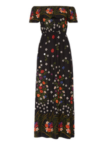 Border Print Bardot Maxi Dress