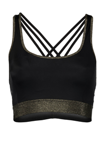 Black & Gold Sparkle Yoga Crop Top