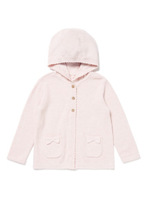 Pink Hooded Knitted Cardigan (Newborn -12 months)